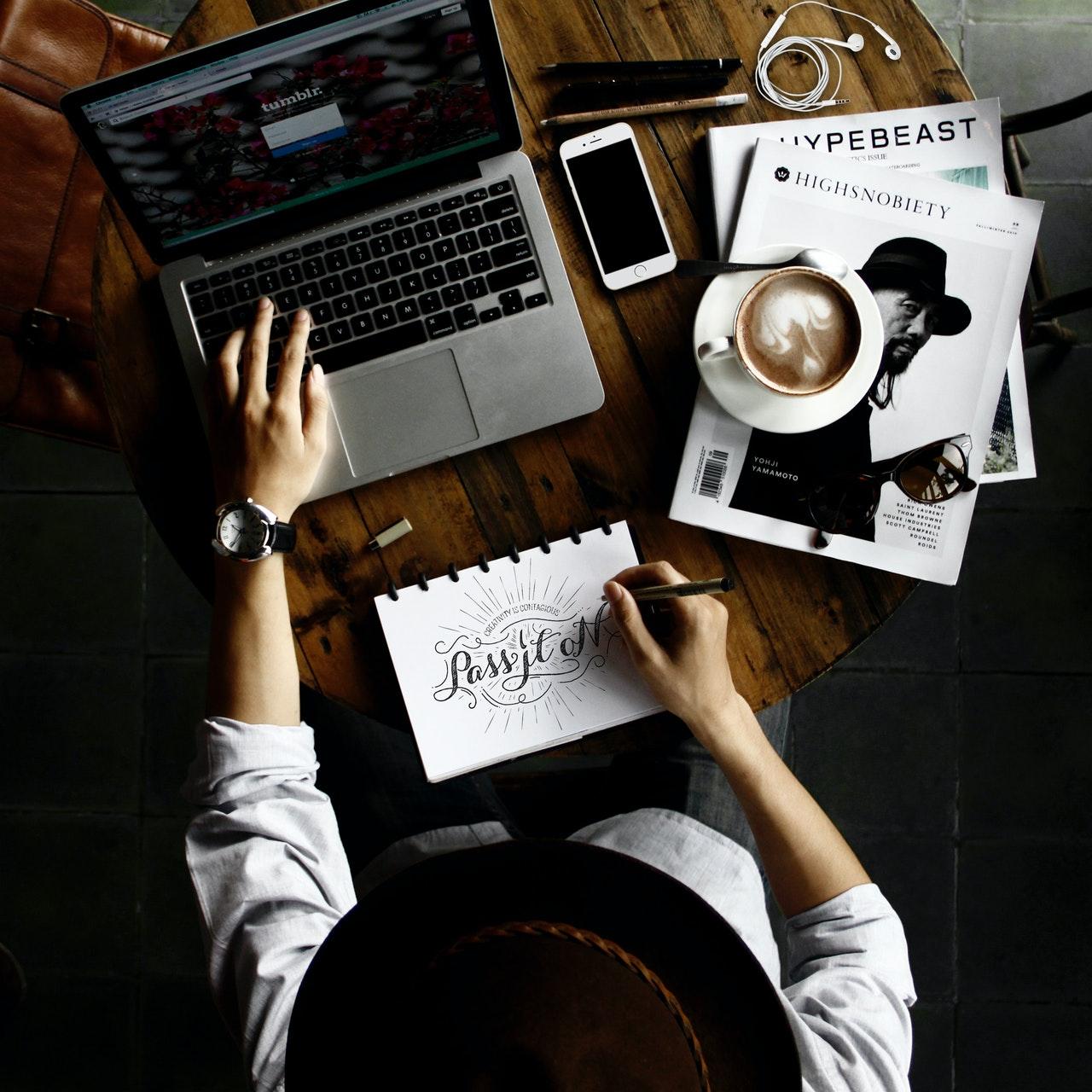 Woman working on logo design